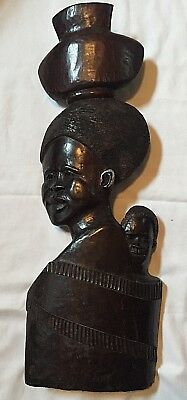 """Large 31"""" Hand-Carved """"African Mother & Child""""-Wall Decor-Ghana"""