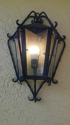 Antique Spanish Wall Light-Spanish Revival Hand Forged Wrought Iron Sconce