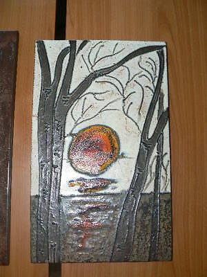 "german fat lava ceramic wall tile Wandplatte Keramik RUSCHA "" sunrise "" 37,5x23"