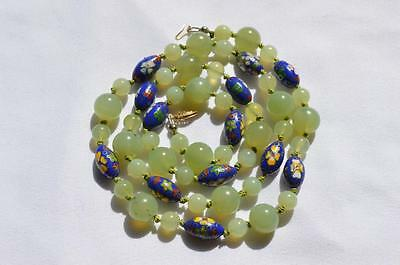 Vintage Natural Chinese Jadeite Jade Celadon Green & Cloisonne 14K Yg Necklace