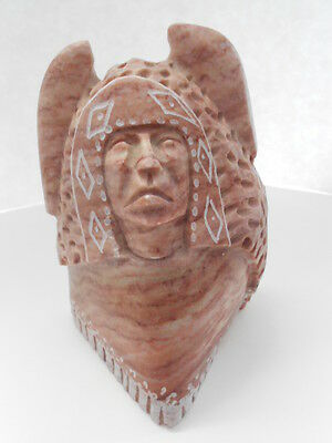 Original Navajo Alabaster Carving-Chief With Headdress-Artist:Dianna Blueeyes