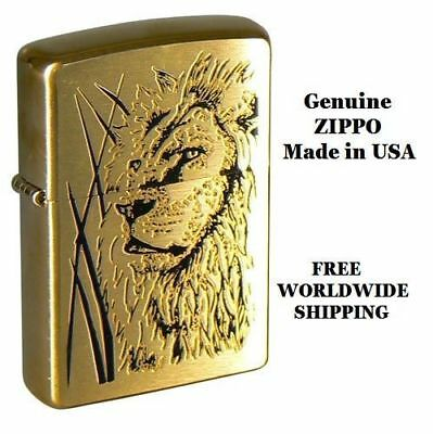 ZIPPO LIGHTER 204B Brushed Brass Proud Lion NEW IN BOX AND GENUINE from USA !!!!