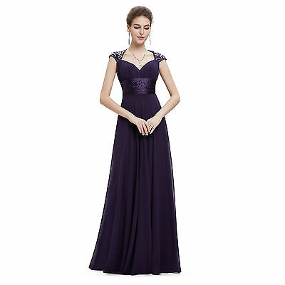 Stock Chiffon Lining Cocktail Bridesmaid Long Dress Prom Ball Gown Dress Size 16