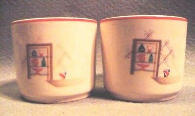 2 Vtg Custard Cups By Universal Pottery Cambridge, OH Pattern is Cottage Window