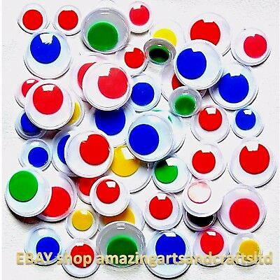 Wiggle Wiggly Googly Eyes Coloured Centers Pack Size 100 10mm 12mm 15mm
