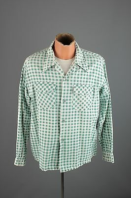 Vtg Men's 1940s 1950s Pilgrim Cotton Green Flannel Shirt sz L 40s 50s #3574