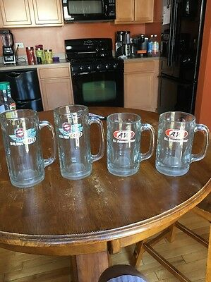 4  Vintage A & W ROOT BEER HEAVY CLEAR GLASS MUGS WITH LOGO