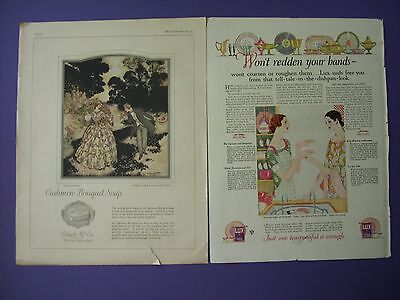 2 Big 1920's Print Ads: Cashmere Bouquet & Lux Soap