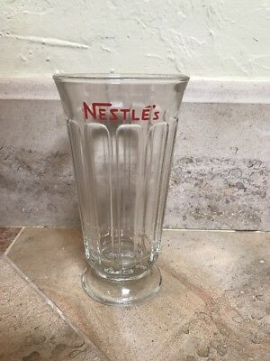 Vintage NESTLE'S Tall Paneled SODA FOUNTAIN GLASS