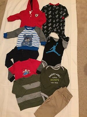Lot Of 16 Baby Boys Clothing Newborn To 3 Months Outfits