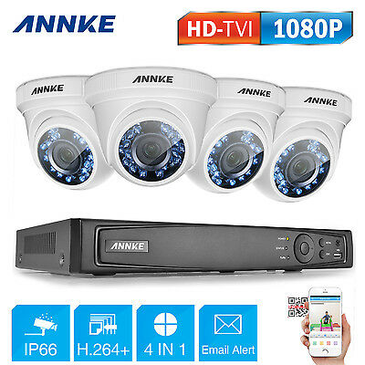 ANNKE 3000TVL Security System 8CH 1080P DVR Smart Search Motion Camera Video TVI