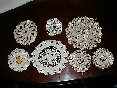 """Vtg Lot 7 Small Hand Crocheted Round 3"""" To 5.25"""" White & Ecru & 1 Yellow Doilies"""