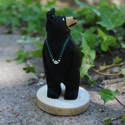 BLACK BEAR WITH TURQUOISE NECKLACE by RAY & ORLEEN LANSING - NAVAJO FOLK ART