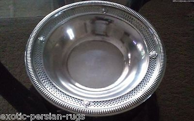 Large Sterling Silver Open Work Bowl By Crown Co