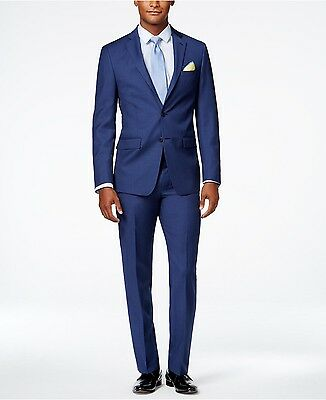$849 CALVIN KLEIN Mens NEW Extreme SLIM FIT WOOL SUIT Blue Solid Two Button 42 S