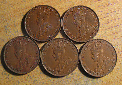Australian KGV pennies, 5 different years from the 1930's (C24) refer notes