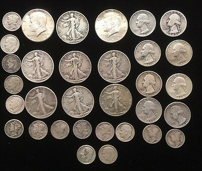 Collection of American Silver Dimes Quarters and Half Dollars. AD