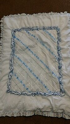 baby boy ribbon romany cot bed quilt blue