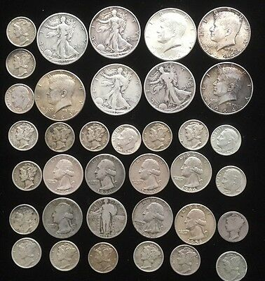 Lot of American Silver Dimes Quarters and Half Dollars. AC