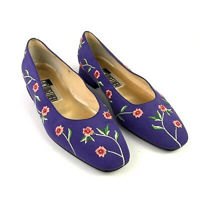 VTG 80s TOGETHER! Womens Purple Embroidered Floral Flats Shoes Size 7B