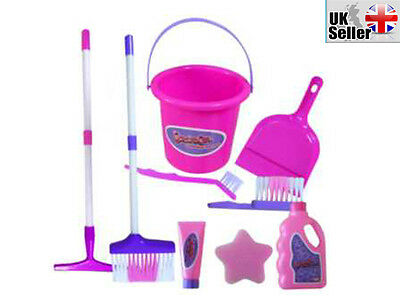 9Pc Kids Childrens Girls Pink Purple Cleaning Toy Play Set - Great Gift For Kids