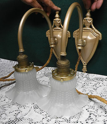 Pair Antique Weighted Pull Down Rope Wall Sconce Swing Arm Goose Neck Light