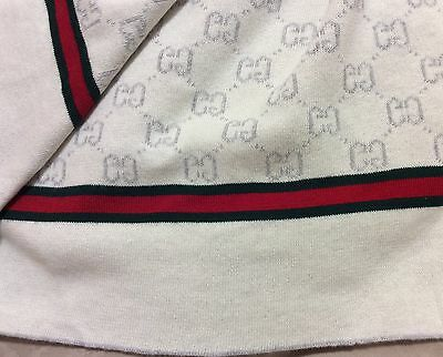 Gucci Baby Blanket NEW White and Grey