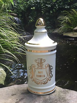 Vintage NUX VOMICA Porcelain Apothecary Jar Pharmaceutical Owens IL  HOMEOPATHY