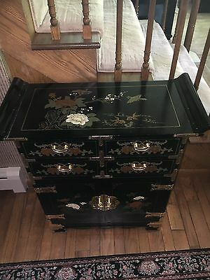 Black, Hand-painted, Chinese Chest