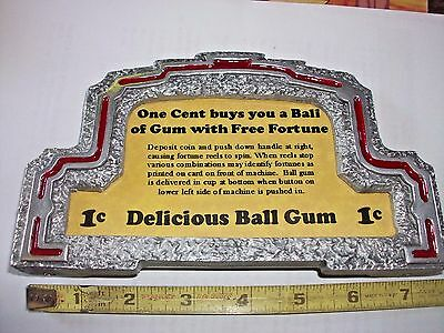 Mills Bell Boy Trade Stimulator Polished Marquee with Card 1 Cent Gum/Fortune