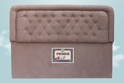 Bed Head Padded Double Upholstered Fabric Button Studded Chocolate Headboard