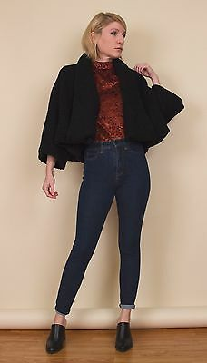 Vintage 60s nubby knit kimono jacket cropped black cardigan batwing womens xs/S