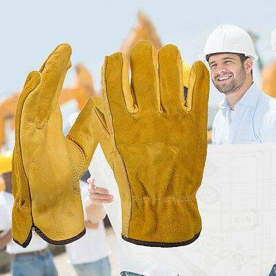 Cowhide Men Work Driver Gloves Security Protection Safety Workers Welding cc