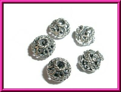6 x Sterling Silver Bali Ornate Spacer Beads 7mm