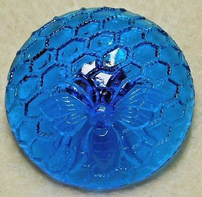 Large ANTIQUE Molded BLUE Glass BUTTON~ BEE on a HONEYCOMB 1.40""