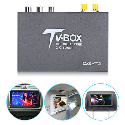 HD DVB-T2 Car Mobile Digital TV Box Receiver Dual Antenna Tuner Remote Control