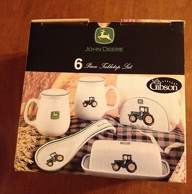John Deere Gibson Tabletop Set 6 Pieces ~ New Old Stock  ~Never Used Set