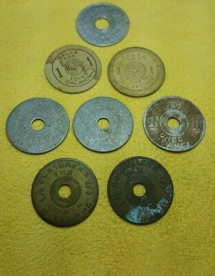 Vintage Sales tax tokens from Oklahoma -  lot of 8