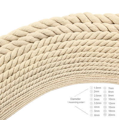 5-20mm Diameter Cotton Three twisted Rope Twisted String Cord Twine Sash Craft H