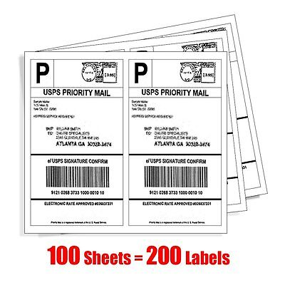200 Half Sheet Shipping Labels Self Adhesive 8.5 x 5.5 Blank 2 Labels Per Sheet