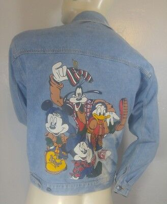 Vintage Disney Denim Jacket by Jerry Leigh Mens Medium Mickey Distressed Hip Hop