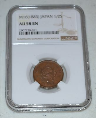1883 Japan M16 (1883) 1/2 Sen Graded by NGC as AU 58 BN