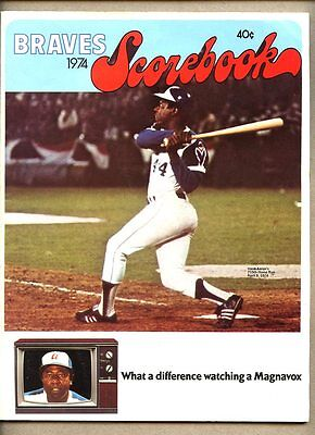 Atlanta Braves Scorebook 1974 Hank Aaron cover 715th Home Run Babe Ruth