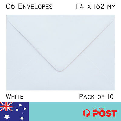 C6 size White Envelope 114 x 162mm pack of 10 High Quality