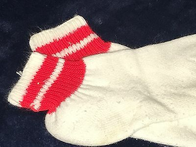 Vtg New Ms. Sports Hanes 75% Orlon Acrylic White w/ Red Rings Ankle Socks