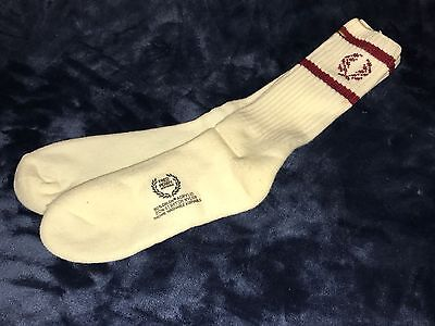 Vtg New Fred Perry Thick 80% Orlon Acrylic White Crew Socks w Red Rings & Emblem