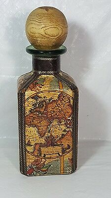 Vintage Leather Covered Glass Decanter Bottle Made in Italy Wood Stopper Crests