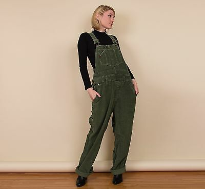 Vintage 90s green corduroy overalls Unionbay dungarees jumpsuit grunge minimal