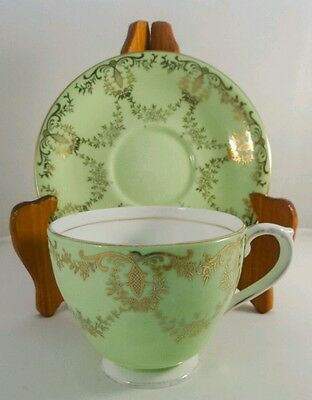 Vintage Queen Anne Green Gold Floral lattice 4769 c1959 Tea cup and Saucer