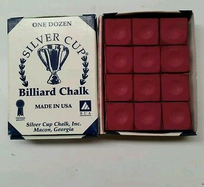 Silver Cup Billiard CUE CHALK 12 Pieces - BURGUNDY - Made In USA